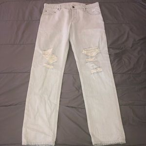 Asos Slim Jeans with Mega Rips In bleach wash blue